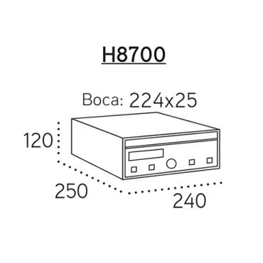 Buzón medidas: 240x250x120mm